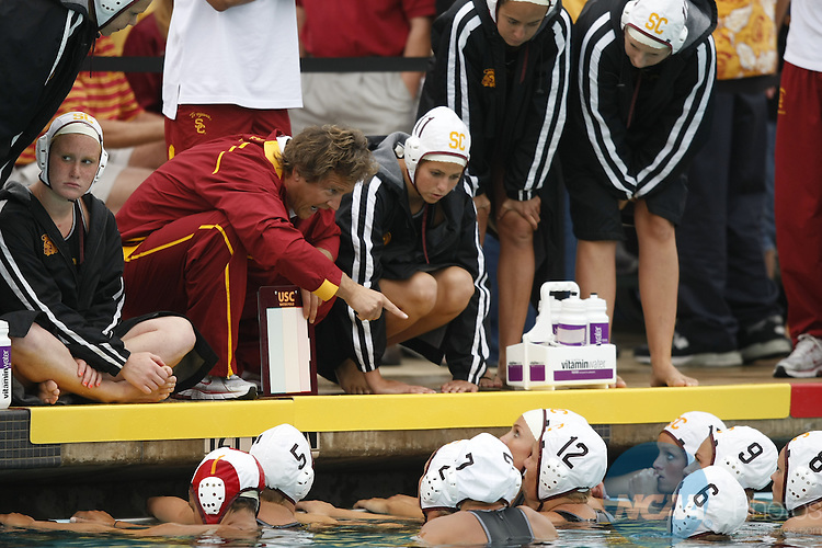 16 MAY 2010:  Head Coach Jovan Vavic of the University of Southern California barks out orders against Stanford University during the Division I Women's Water Polo Championship held at the Aztec Aquaplex on the San Diego State University campus in San Diego, CA.  USC defeated Stanford 10-9 for the national title.  Jamie Schwaberow/NCAA Photos