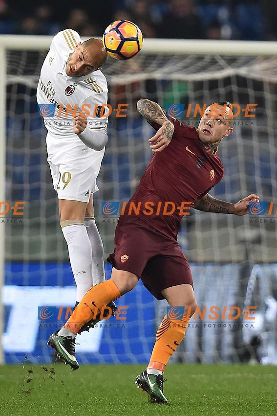 Gabriel Paletta Milan, Radja Nainggolan Roma <br /> Roma 12-12-2016 Stadio Olimpico Football <br /> Campionato Serie A 2016/2017 <br /> AS Roma - Milan <br /> Foto Andrea Staccioli / Insidefoto