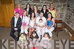 Christening - Bridget Coffey from Chapel St., Tralee, seated centre celebrating the christening of her daughter Breena with family and friends in St. John's Church on Saturday afternoon. Front l/r Kellis Coffey, Sophie O'Brien, Paul Conway and Alanna O'Driscoll. Seated l/r Christopher Coffey, Mary Deady, Bridget Coffey, Richard Coffey with baby Breena, and Eileen O'Driscoll. Standing l/r #Maria O'Brien, Mary Ann Coffey, Victoria Betts, Bernadette & Doll Coffey..   Copyright Kerry's Eye 2008