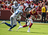 Washington Redskins running back Chris Thompson (25) tries to elude a tackle by Indianapolis Colts linebacker Darius Leonard (53) late in the fourth quarter of the game at FedEx Field in Landover, Maryland on Sunday, September 16, 2018.  The Colts won the game 21 - 9.<br /> Credit: Ron Sachs / CNP