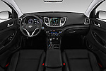 Stock photo of straight dashboard view of 2018 Hyundai Tucson Limited 5 Door Suv Dashboard