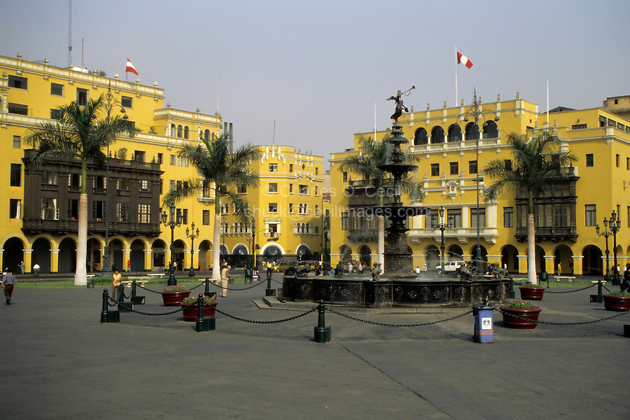 Lima, Peru - Plaza Mayor, a World Heritage Site, Fountain