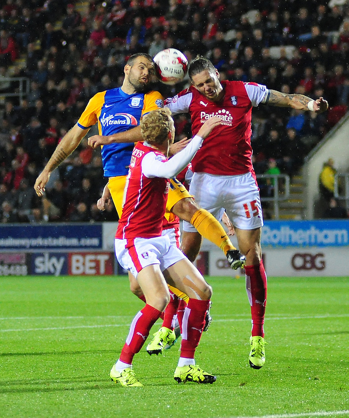 Preston North End's John Welsh vies for possession with Rotherham United's Greg Halford<br /> <br /> Photographer Chris Vaughan/CameraSport<br /> <br /> Football - The Football League Sky Bet Championship - Rotherham United v Preston North End - Tuesday 18th August 2015 - New York Stadium - Rotherham<br /> <br /> &copy; CameraSport - 43 Linden Ave. Countesthorpe. Leicester. England. LE8 5PG - Tel: +44 (0) 116 277 4147 - admin@camerasport.com - www.camerasport.com