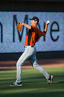 Frederick Keys starting pitcher Matthew Grimes (38) warms up in the outfield prior to the game against the Winston-Salem Dash at BB&T Ballpark on May 24, 2016 in Winston-Salem, North Carolina.  The Keys defeated the Dash 7-1.  (Brian Westerholt/Four Seam Images)