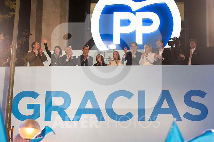 The prime minister and presidential candidate of the Partido Popular, Mariano Rajoy out of the balcony to greet with his team of voters who approached the Partido Popular headquarters at Genova in Madrid, December 20, 2015<br /> (ALTERPHOTOS/BorjaB.Hojas)