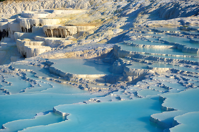Pictures & Image  of Pamukkale Travetine Terrace, Turkey. Images of the white Calcium carbonate rock formations. Buy as stock photos or as photo art prints. 4 Pamukkale travetine terrace water cascades, composed of white Calcium carbonate rock formations, Pamukkale, Anatolia, Turkey