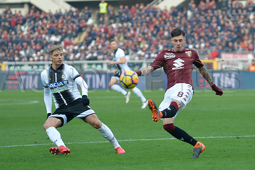 11th February 2018, Stadio Olimpico di Torino, Turin, Italy; Serie A football, Torino versus Udinese; Daniele Baselli clears the ball away from his box