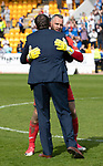 St Johnstone v Ross County&hellip;12.05.18&hellip;  McDiarmid Park    SPFL<br />Alan Mannus in his final game for saints gets a hug from Manager Tommy Wright<br />Picture by Graeme Hart. <br />Copyright Perthshire Picture Agency<br />Tel: 01738 623350  Mobile: 07990 594431