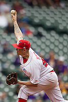 Nebraska Cornhuskers pitcher Colton Howell (25) delivers a pitch to the plate during the NCAA baseball game against the Hawaii Rainbow Warriors on March 7, 2015 at the Houston College Classic held at Minute Maid Park in Houston, Texas. Nebraska defeated Hawaii 4-3. (Andrew Woolley/Four Seam Images)