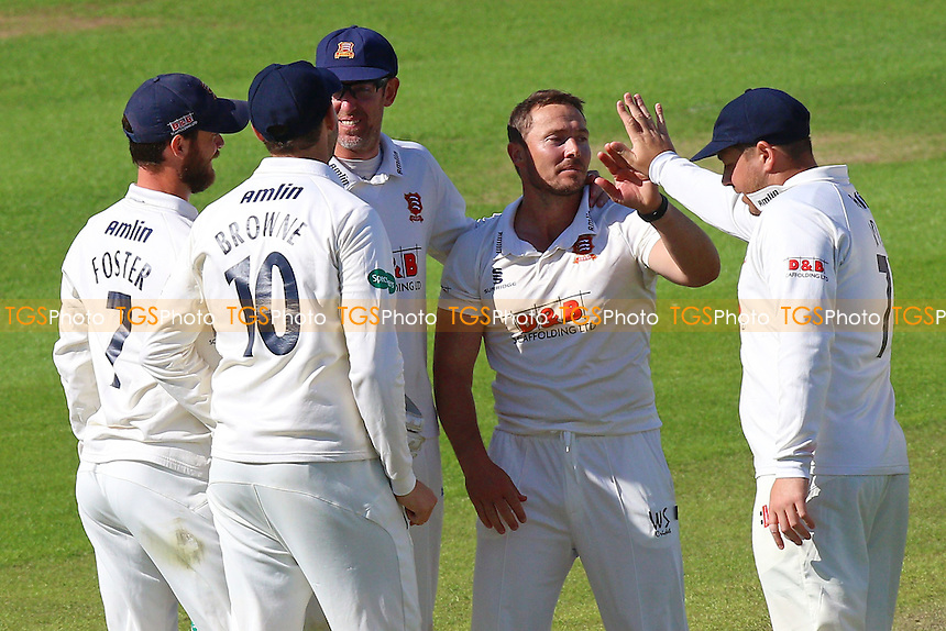 Graham Napier of Essex (2nd R) claims the wicket of Timm van der Gugten during Glamorgan CCC vs Essex CCC, Specsavers County Championship Division 2 Cricket at the SSE SWALEC Stadium on 22nd May 2016