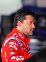 Aug. 8, 2009; Watkins Glen, NY, USA; NASCAR Sprint Cup Series driver Tony Stewart during practice for the Heluva Good at the Glen. Mandatory Credit: Mark J. Rebilas-