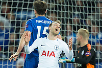 Christian Eriksen of Tottenham shows his frustration after missing the target from 6 yards out during the Premier League match between Leicester City and Tottenham Hotspur at the King Power Stadium, Leicester, England on 28 November 2017. Photo by James Williamson / PRiME Media Images.