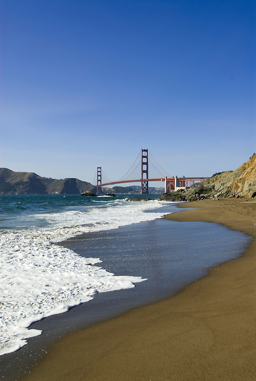 San Francisco: Baker Beach with Golden Gate Bridge in background.  Photo # 2-casanf83760.  Photo copyright Lee Foster
