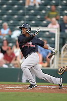 Tampa Yankees third baseman Miguel Andujar (46) at bat during a game against the Fort Myers Miracle on April 15, 2015 at Hammond Stadium in Fort Myers, Florida.  Tampa defeated Fort Myers 3-1 in eleven innings.  (Mike Janes/Four Seam Images)