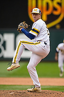 Jacob Cronenworth (2) of the Michigan Wolverines pitches during a 2015 Big Ten Conference Tournament game between the Michigan Wolverines and Indiana Hoosiers at Target Field on May 20, 2015 in Minneapolis, Minnesota. (Brace Hemmelgarn/Four Seam Images)
