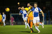 Mark McChrystal of Bristol Rovers stops a Sam Wood of Wycombe Wanderers attack during the Sky Bet League 2 rearranged match between Bristol Rovers and Wycombe Wanderers at the Memorial Stadium, Bristol, England on 1 December 2015. Photo by Andy Rowland.