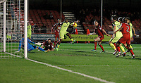Exeter City's Reuben Reid watches his blocked shot spin away during the Sky Bet League 2 match between Crawley Town and Exeter City at Broadfield Stadium, Crawley, England on 28 February 2017. Photo by Carlton Myrie / PRiME Media Images.