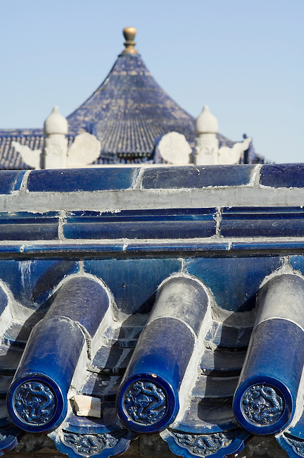 Blue ceramic tiles signify place of royalty, Temple of Heaven, Beijing, China