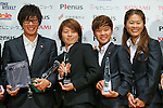 (L to R) Megumi Takase (Leonessa), Aya Miyama (Belle),  Ji So-Yun (Leonessa), Homare Sawa (Leonessa), November 13, 2012 - Football / Soccer : Plenus Nadeshiko LEAGUE 2012 Award ceremony in Tokyo, Japan. (Photo by Yusuke Nakanishi/AFLO SPORT).