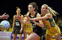12.10.2016 Silver Ferns Bailey Mes and Australia's April Brandley in action during the Silver Ferns v Australia netball test match played at the Silver Dome in Launceston in Australia.. Mandatory Photo Credit ©Michael Bradley.