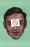 Illustrative image of businessman with do not use sign representing work free