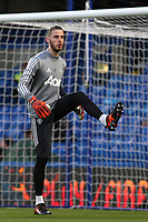 Manchester United goalkeeper, David de Gea, warms up pre-match during Chelsea vs Manchester United, Premier League Football at Stamford Bridge on 5th November 2017