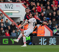 Bournemouth's Steve Cook (right) clashes with Manchester United's Juan Mata (left) <br /> <br /> Photographer David Horton/CameraSport<br /> <br /> The Premier League - Bournemouth v Manchester United - Saturday 3rd November 2018 - Vitality Stadium - Bournemouth<br /> <br /> World Copyright &copy; 2018 CameraSport. All rights reserved. 43 Linden Ave. Countesthorpe. Leicester. England. LE8 5PG - Tel: +44 (0) 116 277 4147 - admin@camerasport.com - www.camerasport.com