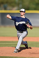 Milwaukee Brewers pitcher Kaleb Earls (60) during an Instructional League game against the Los Angeles Angels of Anaheim on October 9, 2014 at Tempe Diablo Stadium Complex in Tempe, Arizona.  (Mike Janes/Four Seam Images)