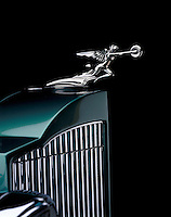 1930's green Packard hood ornament detail.