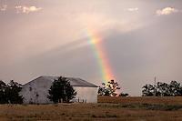 Rainbow Behind Barn in Oklahoma