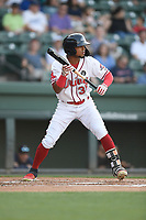 Center fielder Kervin Suarez (36) of the Greenville Drive bats in a game against the West Virginia Power on Friday, May 17, 2019, at Fluor Field at the West End in Greenville, South Carolina. West Virginia won, 10-4. (Tom Priddy/Four Seam Images)