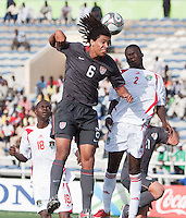 Zachary Herold heads the ball. US Men's National Team Under 17 defeated Malawi 1-0 in the second game of the FIFA 2009 Under-17 World Cup at Sani Abacha Stadium in Kano, Nigeria on October 29, 2009.
