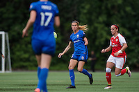 Seattle, WA - Thursday, May 26, 2016: Seattle Reign FC midfielder Carson Pickett (16). The Seattle Reign FC of the National Women's Soccer League (NWSL) and the Arsenal Ladies FC of the Women's Super League (FA WSL) played to a 1-1 tie during an international friendly at Memorial Stadium.