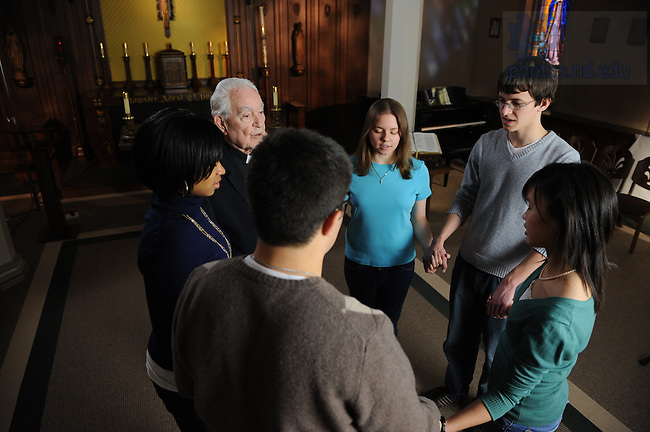 Fr. Hesburgh prays in St. Edward's Hall Chapel for a video production by Towers productions