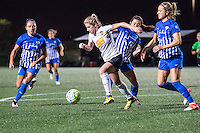 Allston, MA - Saturday Sept. 24, 2016: Kyah Simon, McCall Zerboni, Brooke Elby, Kristie Mewis during a regular season National Women's Soccer League (NWSL) match between the Boston Breakers and the Western New York Flash at Jordan Field.