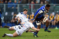 Levi Douglas of Bath United takes on the Gloucester United defence. Premiership Rugby Shield match, between Bath United and Gloucester United on April 8, 2019 at the Recreation Ground in Bath, England. Photo by: Patrick Khachfe / Onside Images
