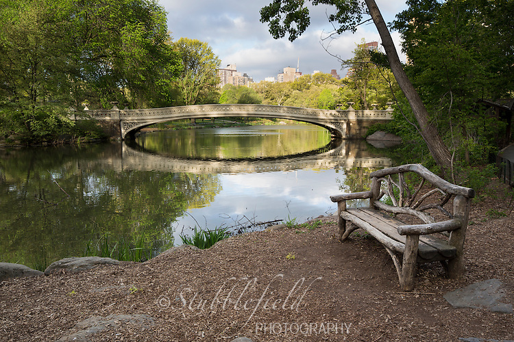 Bow Bridge and a wooden bench in New York City's Central Park at sunrise in the Spring.