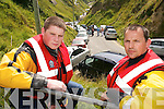 ALERT: Ballybunion Sea and Cliff Rescue members Omar Fitzell and Brian Mannion pictured at The Glen Road on Tuesday. Illegal parking on the road is creating major access problems for the emergency services..