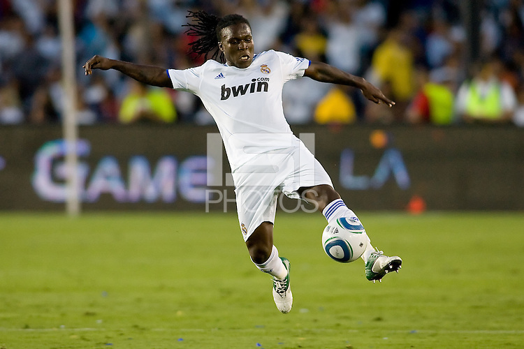Royston Ricky Drenthe of Real Madrid reaches for the ball. Real Madrid beat the LA Galaxy 3-2 in an international friendly match at the Rose Bowl in Pasadena, California on Saturday evening August 7, 2010.