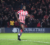 Lincoln City's John Akinde celebrates scoring his side's second goal<br /> <br /> Photographer Andrew Vaughan/CameraSport<br /> <br /> The Emirates FA Cup Second Round - Lincoln City v Carlisle United - Saturday 1st December 2018 - Sincil Bank - Lincoln<br />  <br /> World Copyright © 2018 CameraSport. All rights reserved. 43 Linden Ave. Countesthorpe. Leicester. England. LE8 5PG - Tel: +44 (0) 116 277 4147 - admin@camerasport.com - www.camerasport.com