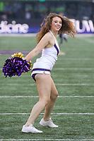 SEATTLE, WA - OCTOBER 28:  Washington cheerleader Samantha Jones entertained fans during the game against UCLA on October 28, 2017 at Husky Stadium in Seattle, WA. Washington won 44-23 over UCLA.