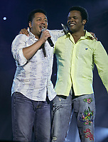 Normand Brathwaite and Luck Mervil performs at the Saint-Jean-Baptiste show on the Plains of Abraham Thursday June 23, 2005.