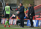 24th March 2018, The Valley, London, England;  English Football League One, Charlton Athletic versus Plymouth Argyle; Plymouth Argyle manager Derek Adams screaming at Referee John Busby while holding the match ball from the touchline