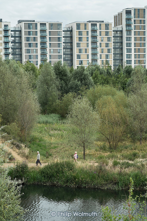 Housing and parkland in East Village, Stratford, formerly the Athletes Village in the London Olympic Park.