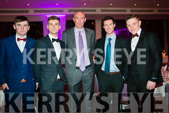 Tom O'Sullivan, Ray O'Shea, Tomás Carey, Tommy O'Sllivan and Kevin Price attending the Kenmare GAA Social at the Brookline Hotel on Friday night.