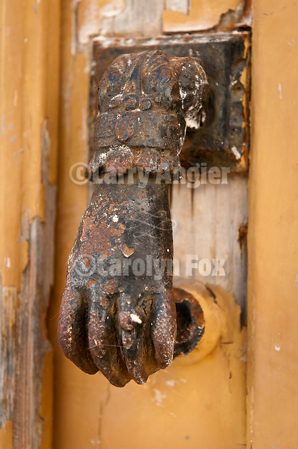 Rusted Venetian hand door knocker, Naoussa, Paros, Cyclades, Greece