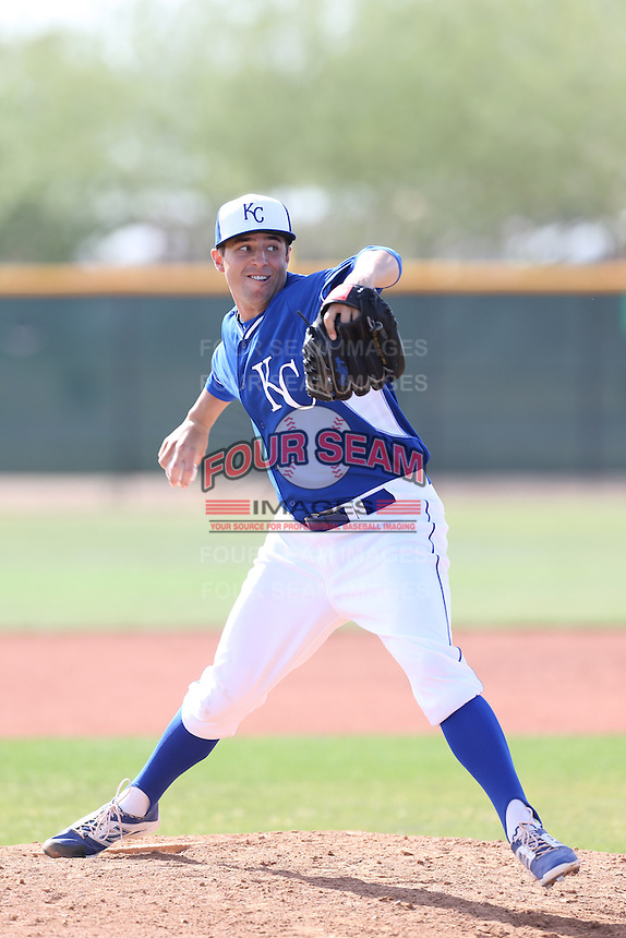 Michael Mariot #37 of the Kansas City Royals pitches during a Minor League Spring Training Game against the San Diego Padres at the Kansas City Royals Spring Training Complex on March 26, 2014 in Surprise, Arizona. (Larry Goren/Four Seam Images)