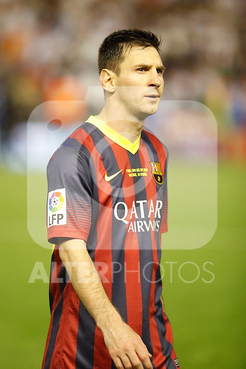 F.C. Barcelona´s Leo Messi after losing the Spanish Copa del Rey `King´s Cup´ final soccer match between Real Madrid and F.C. Barcelona at Mestalla stadium, in Valencia, Spain. April 16, 2014. (ALTERPHOTOS/Victor Blanco)