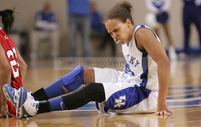 UK's Amber Smith reacts to the play after battling on the court for the ball against Ole Miss at Memorial Coliseum on Thursday, Feb. 4, 2010. Photo by Scott Hannigan | Staff