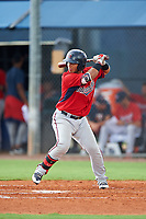 GCL Twins first baseman Kerby Camacho (7) at bat during the second game of a doubleheader against the GCL Rays on July 18, 2017 at Charlotte Sports Park in Port Charlotte, Florida.  GCL Twins defeated the GCL Rays 4-2 after the game was postponed in the second inning to the following day at Charlotte Sports Park in Port Charlotte, Florida.  (Mike Janes/Four Seam Images)